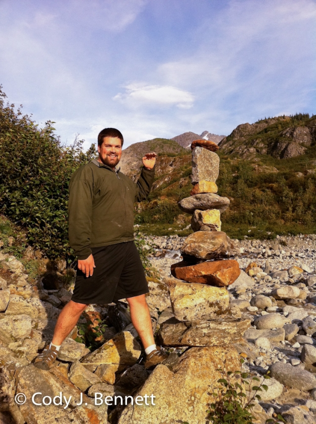 Patrick next to our two-person cairn creation. Fairly epic. Every stone required grunting and/or two people...
