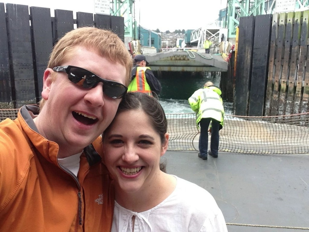 Heather & I on the ferry from Kingston, pulling into Edmonds. Photo op!